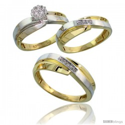 10k Yellow Gold Diamond Trio Engagement Wedding Ring 3-piece Set for Him & Her 7 mm & 6 mm wide 0.10 cttw Brilliant Cut