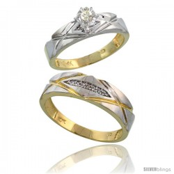 10k Yellow Gold 2-Piece Diamond wedding Engagement Ring Set for Him & Her, 5mm & 6mm wide