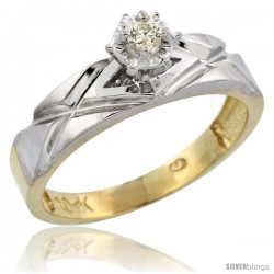 10k Yellow Gold Diamond Engagement Ring, 3/16 in wide