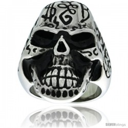 Surgical Steel Biker Skull Ring Decorated w/ Graffiti