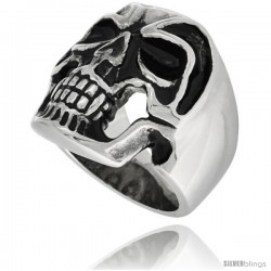 Surgical Steel Biker Skull Ring in Helmet