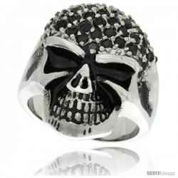 Surgical Steel Biker Skull Ring w/ Black CZ Covered Forehead