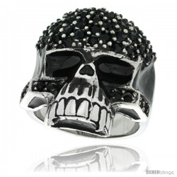 Surgical Steel Biker Skull Ring w/ Black CZ Covered Forehead & Cheeks