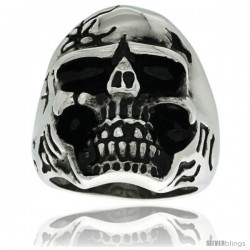 Surgical Steel Biker Skull Ring w/ Alien Graffiti