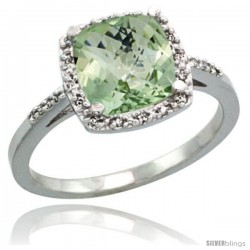Sterling Silver Diamond Natural Green Amethyst Ring Ring 2.08 ct Cushion cut 8 mm Stone 1/2 in wide