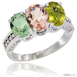 14K White Gold Natural Green Amethyst, Morganite & Lemon Quartz Ring 3-Stone 7x5 mm Oval Diamond Accent