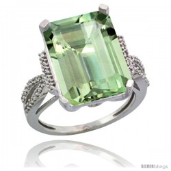 14k White Gold Diamond Green-Amethyst Ring 12 ct Emerald Shape 16x12 Stone 3/4 in wide