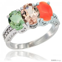 14K White Gold Natural Green Amethyst, Morganite & Coral Ring 3-Stone 7x5 mm Oval Diamond Accent