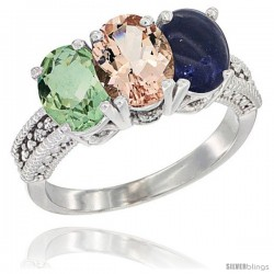 14K White Gold Natural Green Amethyst, Morganite & Lapis Ring 3-Stone 7x5 mm Oval Diamond Accent