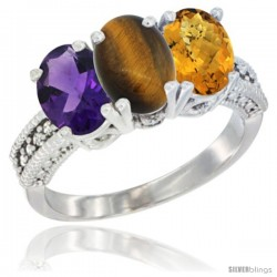 14K White Gold Natural Amethyst, Tiger Eye & Whisky Quartz Ring 3-Stone 7x5 mm Oval Diamond Accent