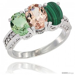14K White Gold Natural Green Amethyst, Morganite & Malachite Ring 3-Stone 7x5 mm Oval Diamond Accent