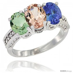 14K White Gold Natural Green Amethyst, Morganite & Tanzanite Ring 3-Stone 7x5 mm Oval Diamond Accent