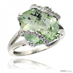 14k White Gold Diamond Green Amethyst Ring 7.5 ct Cushion Cut 12 mm Stone, 1/2 in wide