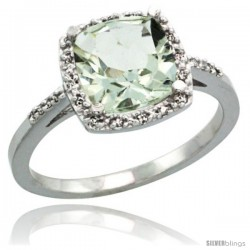 14k White Gold Diamond Green-Amethyst Ring 2.08 ct Cushion cut 8 mm Stone 1/2 in wide