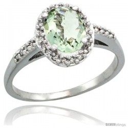 14k White Gold Diamond Green-Amethyst Ring Oval Stone 8x6 mm 1.17 ct 3/8 in wide