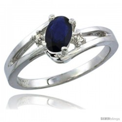 10K White Gold Natural Blue Sapphire Ring Oval 6x4 Stone Diamond Accent -Style Cw916165