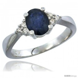 10K White Gold Natural Blue Sapphire Ring Oval 7x5 Stone Diamond Accent -Style Cw916168