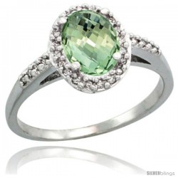 Sterling Silver Diamond Natural Green Amethyst Ring Ring Oval Stone 8x6 mm 1.17 ct 3/8 in wide