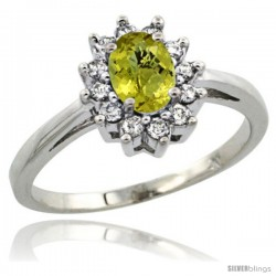 Sterling Silver Natural Lemon Quartz Diamond Halo Ring Oval Shape 1.2 Carat 6X4 mm, 1/2 in wide
