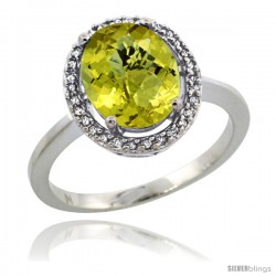 Sterling Silver Diamond Halo Natural Lemon Quartz Ring 2.4 carat Oval shape 10X8 mm, 1/2 in (12.5mm) wide