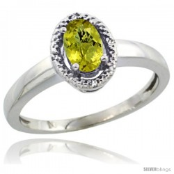 Sterling Silver Diamond Halo Natural Lemon Quartz Ring 0.75 Carat Oval Shape 6X4 mm, 3/8 in (9mm) wide