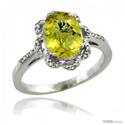 Sterling Silver Diamond Halo Natural Lemon Quartz Ring 1.65 Carat Oval Shape 9X7 mm, 7/16 in (11mm) wide