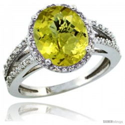 Sterling Silver Diamond Halo Natural Lemon Quartz Ring 2.85 Carat Oval Shape 11X9 mm, 7/16 in (11mm) wide
