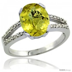 Sterling Silver and Diamond Halo Natural Lemon Quartz Ring 2.4 carat Oval shape 10X8 mm, 3/8 in (10mm) wide