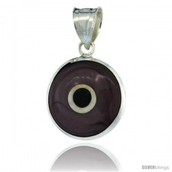 Sterling Silver Light Violet Color Evil Eye Pendant, 5/8 in wide