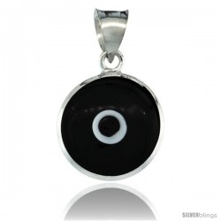 Sterling Silver Black Color Evil Eye Pendant, 5/8 in wide