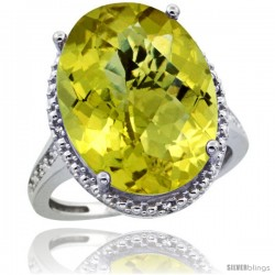 Sterling Silver Diamond Natural Lemon Quartz Ring 13.56 ct Large Oval 18x13 mm Stone, 3/4 in wide