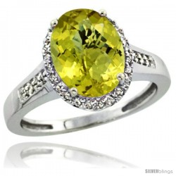 Sterling Silver Diamond Natural Lemon Quartz Ring 2.4 ct Oval Stone 10x8 mm, 1/2 in wide