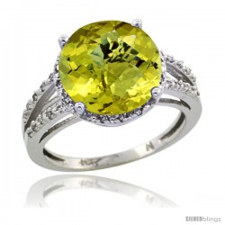 Sterling Silver Diamond Natural Lemon Quartz Ring 5.25 ct Round Shape 11 mm, 1/2 in wide