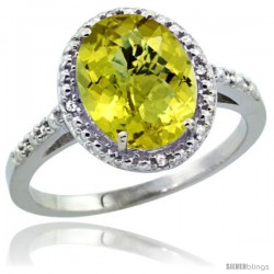 Sterling Silver Diamond Natural Lemon QuartzRing 2.4 ct Oval Stone 10x8 mm, 1/2 in wide