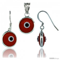 Sterling Silver Orange Color Evil Eye Pendant & Earrings Set