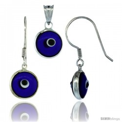 Sterling Silver Navy Blue Color Evil Eye Pendant & Earrings Set
