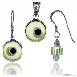 Sterling Silver Translucent Light Yellow Color Evil Eye Pendant & Earrings Set