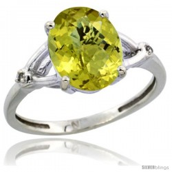 Sterling Silver Diamond Natural Lemon Quartz Ring 2.4 ct Oval Stone 10x8 mm, 3/8 in wide