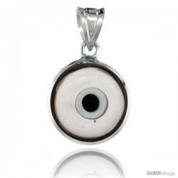 Sterling Silver Translucent Light Purple Color Evil Eye Pendant, 5/8 in wide
