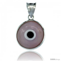 Sterling Silver Light Pink Color Evil Eye Pendant, 5/8 in wide