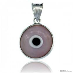 Sterling Silver Light Pink Color Evil Eye Pendant, 5/8 in wide