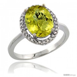 Sterling Silver Diamond Natural Lemon Quartz Ring 2.4 ct Oval Stone 10x8 mm, 1/2 in wide -Style Cwg27114