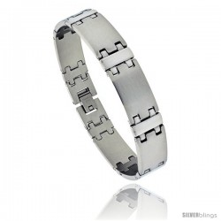 Stainless Steel Men's Satin Finish Bar Bracelet, 9/16 in wide, 8 in