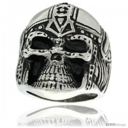 Surgical Steel Biker Ring Ape Warrior Skull in Helmet