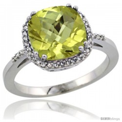 Sterling Silver Diamond Natural Lemon Quartz Ring 3.05 ct Cushion Cut 9x9 mm, 1/2 in wide