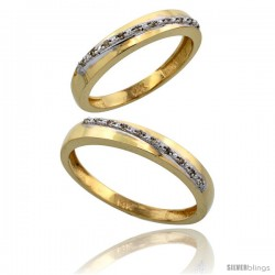 14k Gold 2-Piece His (3.5mm) & Hers (3.5mm) Diamond Wedding Band Set, w/ 0.16 Carat Brilliant Cut Diamonds