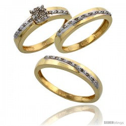 14k Gold 3-Piece Trio His (3.5mm) & Hers (3.5mm) Diamond Wedding Band Set, w/ 0.30 Carat Brilliant Cut Diamonds