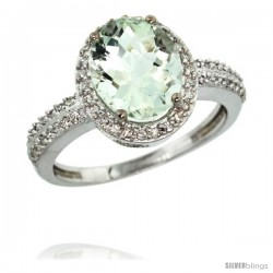 Sterling Silver Diamond Natural Green Amethyst Ring Ring Oval Stone 10x8 mm 2.4 ct 1/2 in wide