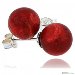 "Sterling Silver Natural Red Coral Ball Stud Earrings 7/8"" (22 mm)"