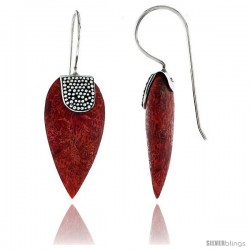 """Sterling Silver Pear-shape Natural Red Coral Earrings 1"""" (25 mm)"""